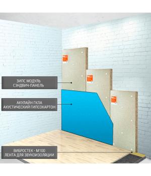Бескаркасная звукоизоляция стен ЗИПС-Модуль 83 ~2418 руб/м²
