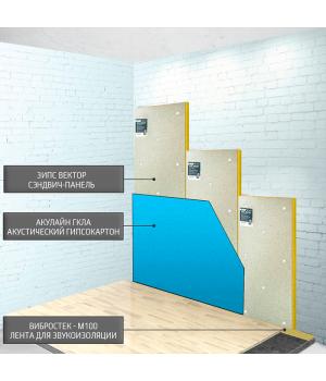 Бескаркасная звукоизоляция стен ЗИПС-Вектор ~2418 руб/м²